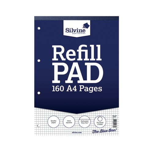 Silvine 5mm Square Headbound Refill Pad A4 160 Pages (Pack of 6) A4RPX Refill Pads SV41775