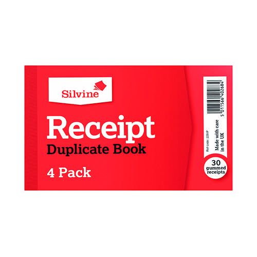 Silvine Duplicate Receipt Book 63x106mm Gummed (Pack of 36) 228