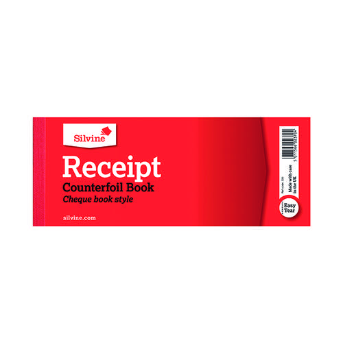 Silvine Receipt Book with Counterfoil 80x202mm (Pack of 36) 233
