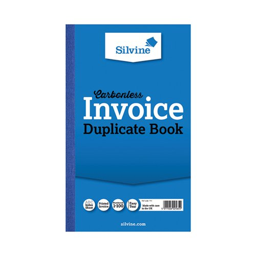 Silvine Carbonless Duplicate Invoice Book 210x127mm (Pack of 6) 711-T