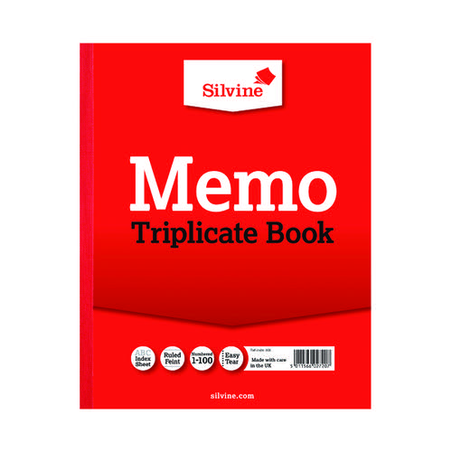 Silvine Triplicate Memo Book 254x203mm (Pack of 6) 606