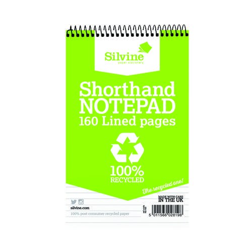 Silvine Everyday Recycled Shorthand Pad 127x203mm (Pack of 12) RE160-T
