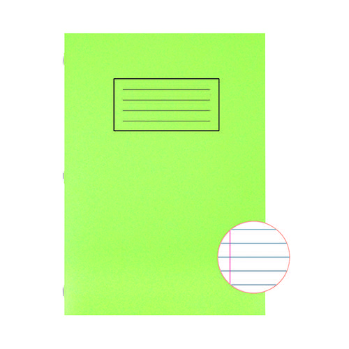 Silvine Exercise Book Ruled with Margin A4 Green (Pack of 10) EX110
