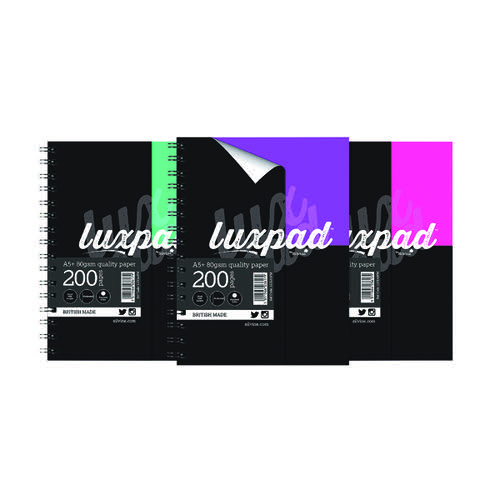 Silvine Luxpad Printed Hardback Notebook A5 Plus (Pack of 3) LUXA5FM