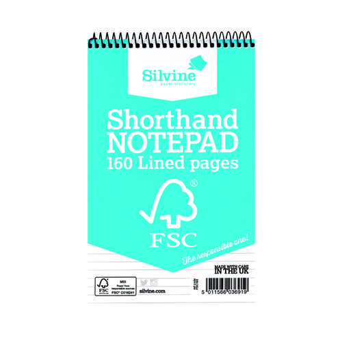 Silvine Envrion Shorthand Notebook 127x203mm (Pack of 10) FSC160