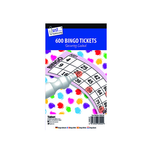 Just Stationery Jumbo Bingo Tickets 21 x 12cm (Pack of 12) 8002