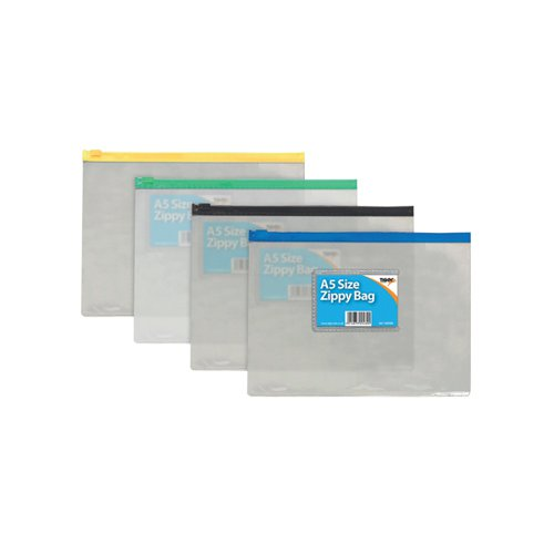 Sundry Clear Plastic A5 Coloured Zip Bags (Pack of 12) 300480