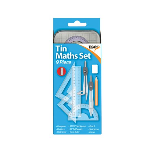 9 Piece Maths Set Tin (Pack of 12) 301467
