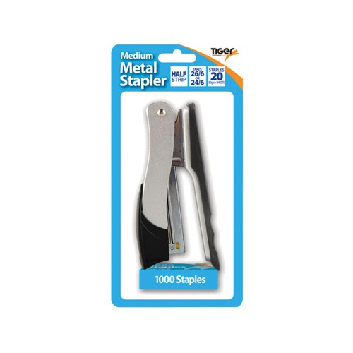 Tiger Medium Metal 26/6 Stapler FOC 1000 Staples (Pack of 6) 301510