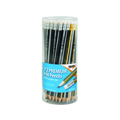 Tiger HB Eraser Tip Pencils Pot Assorted (Pack of 72) 301534