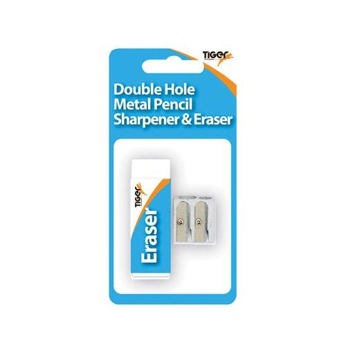 Tiger Eraser And Metal Double Hole Sharpener Set (Pack of 12)