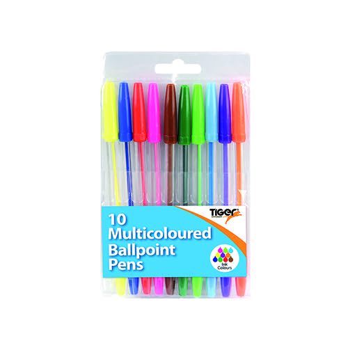Ballpoint Pens 10 Multicoloured (Pack of 12) 302256