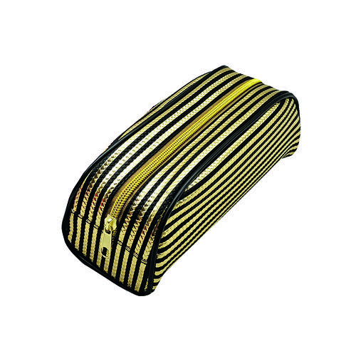 Metallic Striped Pencil Case Gold/Purple (Pack of 12) 302376
