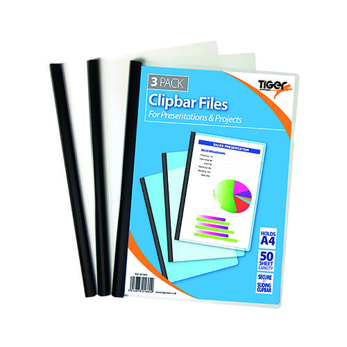 Tiger Clipbar A4 Files Clear (Pack of 36) 301669