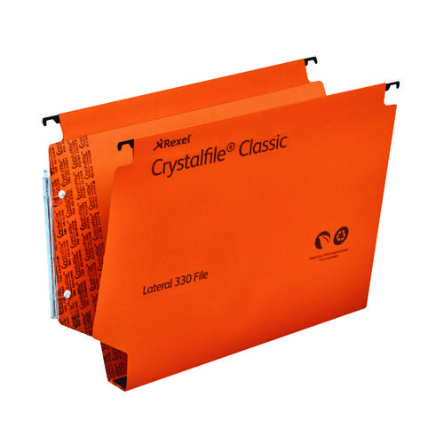 Rexel Crystalfile Classic 30mm Lateral File Orange(Pack of 25) 3000110