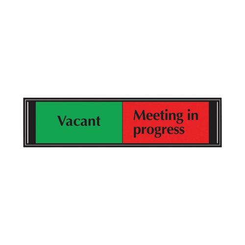 Sliding Sign Vacant/Meeting In Progress Self Adhesive 225x52mm