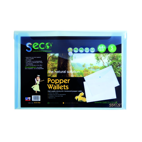 Stewart Superior Eco Biodegradable Wallet A4 Blue (Pack of 5) 30085-BU