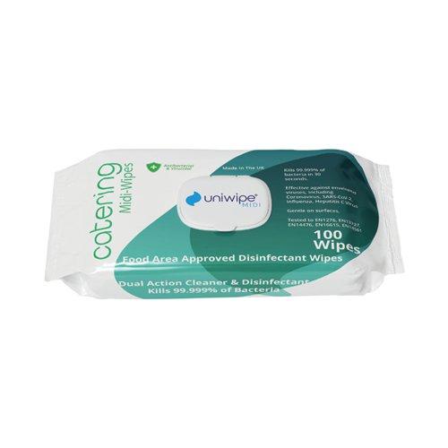 Uniwipe Catering Sanitising Midi Wipes (Pack of 100) 1031