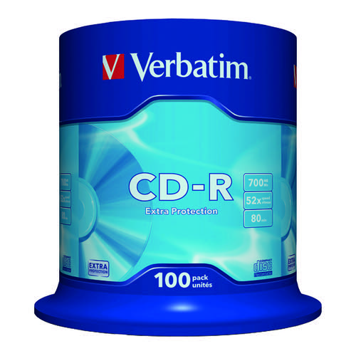 Verbatim CD-R Datalife Non-AZO 52x 700MB (Pack of 100) 43411