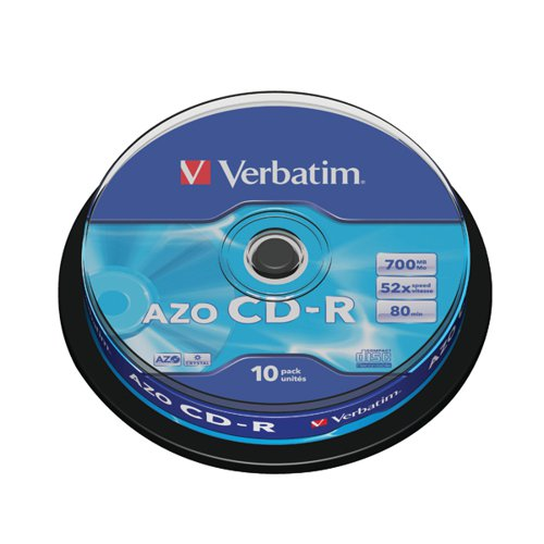 Verbatim CD-R Datalife Non-AZO 52x 700MB (Pack of 10) 43437