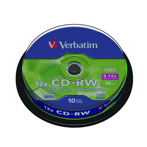 Verbatim CD-RW Datalife Plus 8-12x 700MB (Pack of 10) 43480