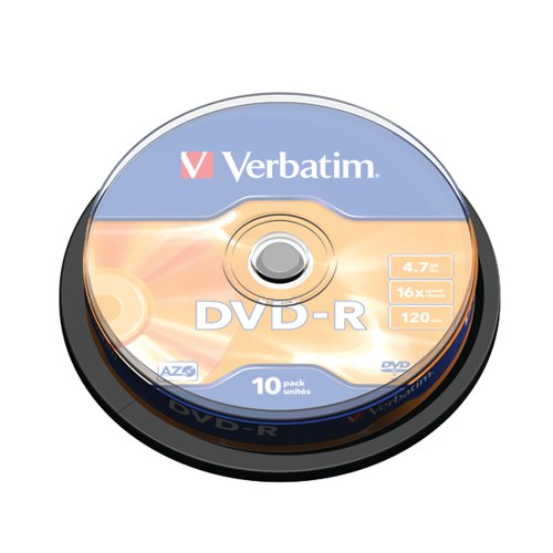 Verbatim DVD-R 16x Branded Silver Spindle of 10 Discs - 43523