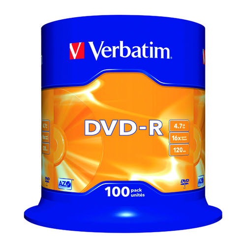 Verbatim DVD-R Non-Printable Spindle 16x 4.7GB (Pack of 100) 43549