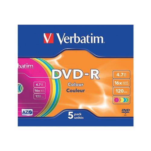VM35570 Verbatim DVD-R Non-Printable Jewel Case 16x 4.7GB (Pack of 5) 43557