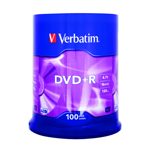 Verbatim DVD+R 16x Speed Spindle 4.7GB (Pack of 100) 43551