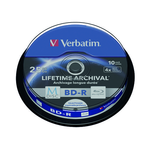Verbatim M-Disc Blu-ray BD-R 25 GB 4x Printable Spindle (Pack of 10) 43825