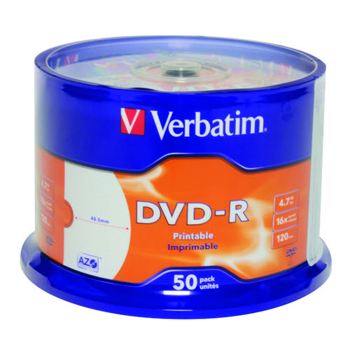 Verbatim DVD-R Spindle 4x 4.7GB (Pack of 50) 43533