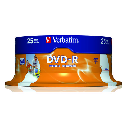 Verbatim DVD-R Spindle 16x 4.7GB (Pack of 25) 43489