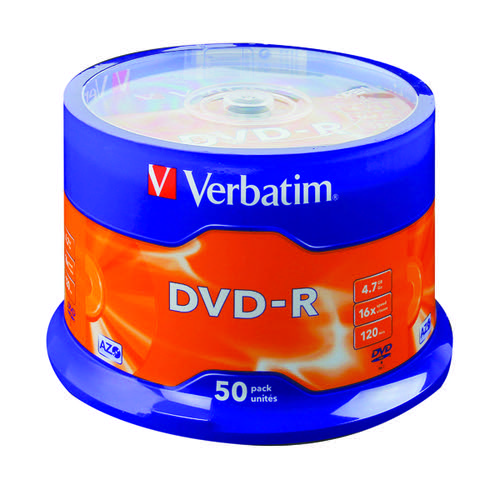 Verbatim DVD-R Spindle 16x 4.7GB (Pack of 50) 43500