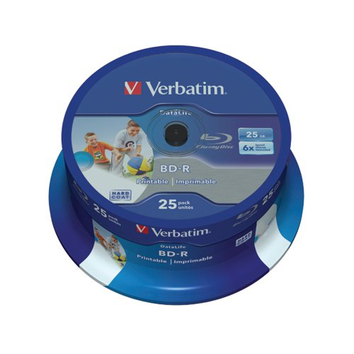 Verbatim BD-R Printable Spindle 6x 25GB (Pack of 25) 43811