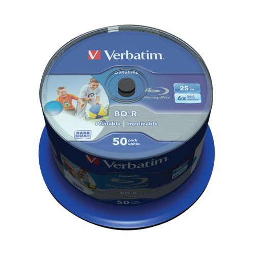 03c09960d Verbatim Blu-ray BD-R 25 GB 6x Printable Spindle (Pack of 50) 43812