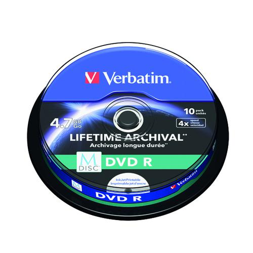 Verbatim M-Disc DVD R 4.7 GB 4x Printable Spindle (Pack of 10) 43824