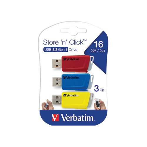 Verbatim Store and Click USB 3.2 16GB (Pack of 3) 49306