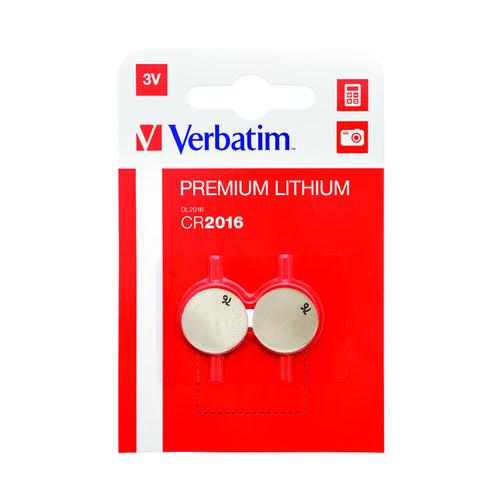 Verbatim CR2016 Battery Lithium 3V 49934-118 (Pack of 2) 49934