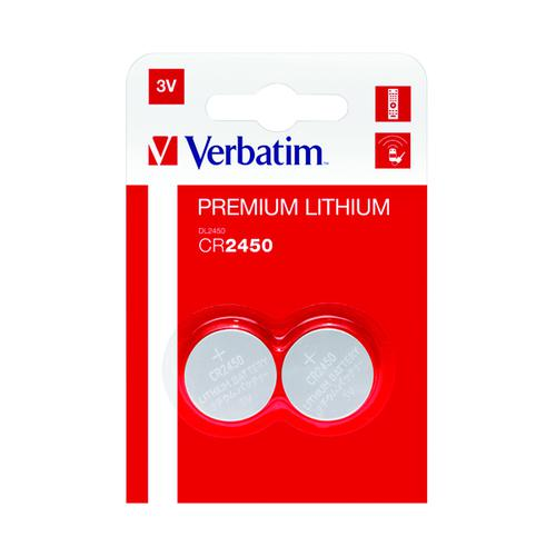 Verbatim CR2450 Battery Lithium 3V 49938-118 (Pack of 2) 49938