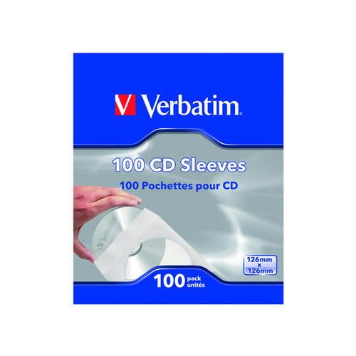 Verbatim CD/DVD Sleeves Paper (Pack of 100) 49976