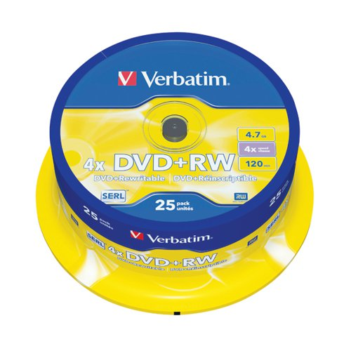 Verbatim DVD+RW Spindle 4x 4.7GB (Pack of 25) 43489