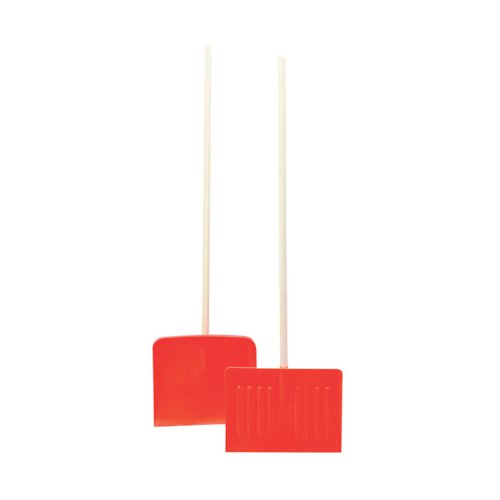 Orange Winter Snow ShovelPusher With Wooden Pole 317595
