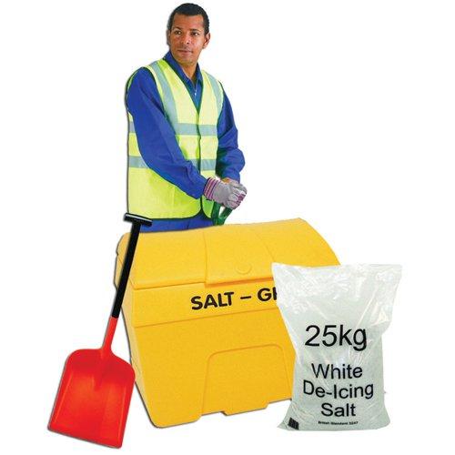 De-icing Kit With 200 Litre Grit Bin, 50kg Salt, Snow Shovel, Gloves, Vest
