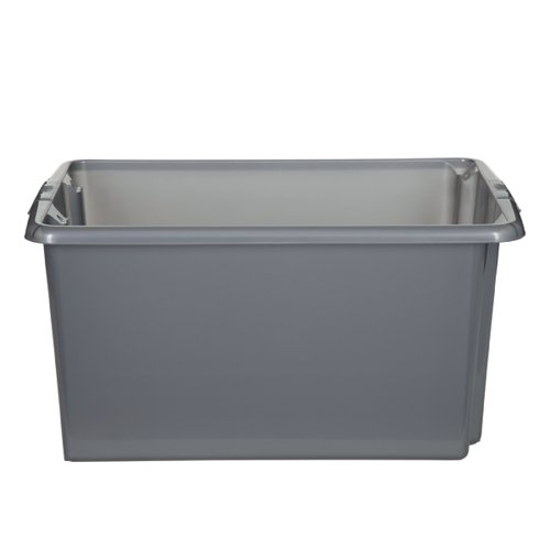 Stack And Store 32 Litres Medium Silver Storage Box S01M801