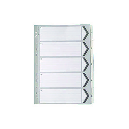 A4 White 1-5 Mylar Index (Multi-punched and Mylar-reinforced tabs and holes) WX01527