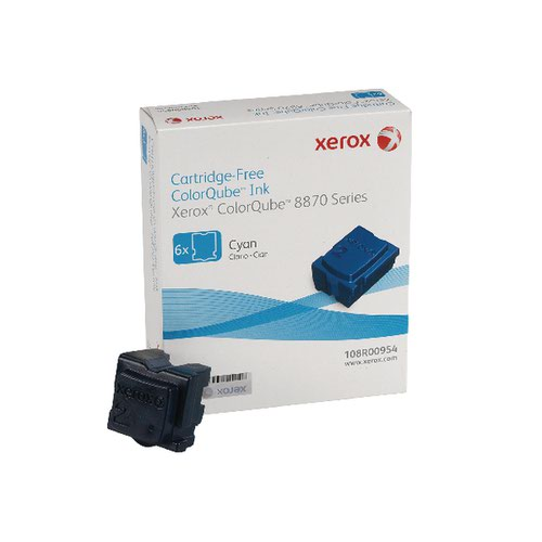 Xerox ColorQube 8870 Cyan Ink Stick (Pack of 6) 108R00955 108R00954