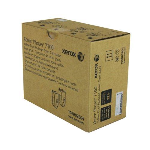 Xerox Phaser 7100 Yellow High Yield Toner (Pack of 2) 106R02604