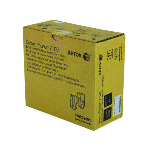 Xerox Phaser 7100 Black High Yield Toner (Pack of 2) 106R02605