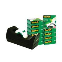 Scotch 19mm x 33m Magic Tape Pack of 12 with Free Black Dispenser ) SM12