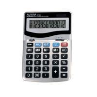 Aurora Grey/Black 12-Digit Desk Calculator (Dual power, solar powered with battery back up) DT303